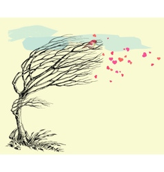 Love bird and tree without leaves in the wind vector