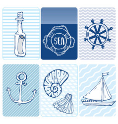 marine seamless card collection of seashells vector image vector image