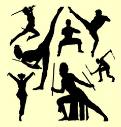 Martial art and self defense silhouette vector