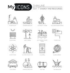 Modern thin line icons set of energy and resources vector