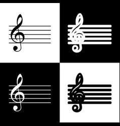 Music violin clef sign g-clef black and vector