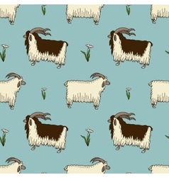 pattern with two cute goats and milfoil vector image vector image