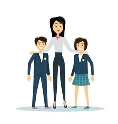 School Teacher with Pupils vector image vector image