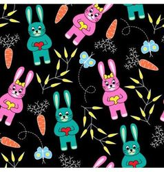 Seamless black background with rabbits vector