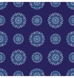 Seamless pattern with circle ornament snowflakes vector image vector image