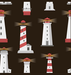 set of lighthouses pattern vector image vector image