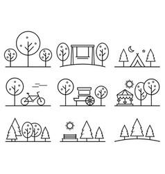 Set of outline design icons parkland vector