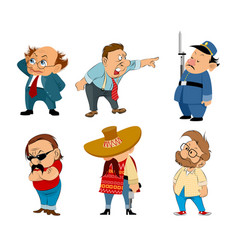 Six funny characters set vector