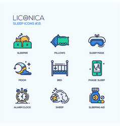 sleep - coloured modern single line icons set vector image