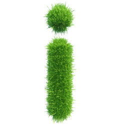 small grass letter i on white background vector image
