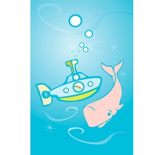 Submarine and Whale vector image