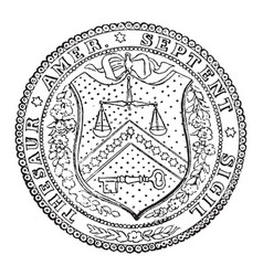 The seal of the treasury department of the united vector