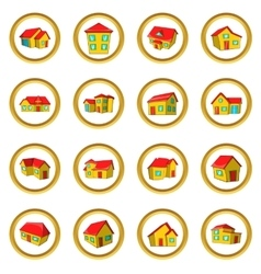 Town house cottage set cartoon style vector