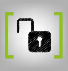 Unlock sign black scribble vector