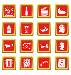 Waste and garbage icons set red vector