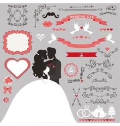 Wedding invitation decoration setkissing couple vector