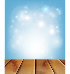 wooden boards and blue background vector image vector image