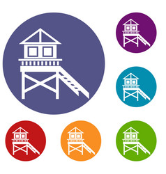 wooden stilt house icons set vector image vector image