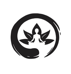 yoga lotus with zen circle logo template vector image vector image