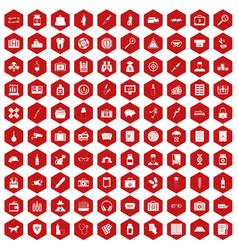 100 case icons hexagon red vector