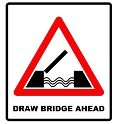 Lifting bridge warning sign icon in flat style on vector