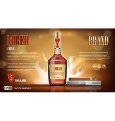 Cognac bottle mock up vector