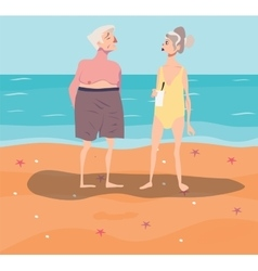 Old-aged couple having rest vector