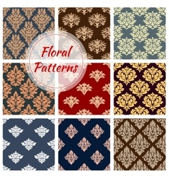 Floral patterns set flourish ornament tile vector image