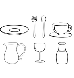 Silhouettes of tablewares vector