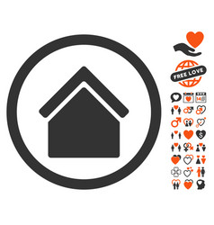 Home icon with love bonus vector