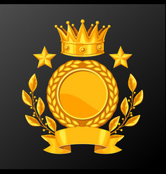 Realistic gold cup with laurel wreath vector
