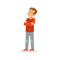 Offended boy character standing with folded arms vector