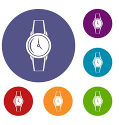 Wristwatch icons set vector