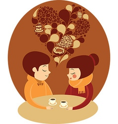Young couple enjoying coffee together vector