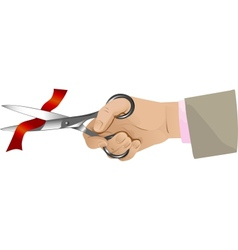 Hand with scissors cutting red ribbon vector