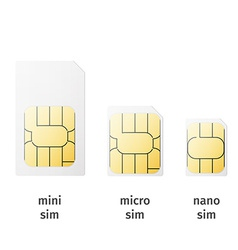 Set of sim cards of different sizesmini micro nano vector