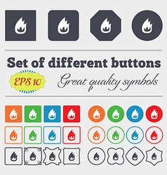 Fire flame icon sign big set of colorful diverse vector