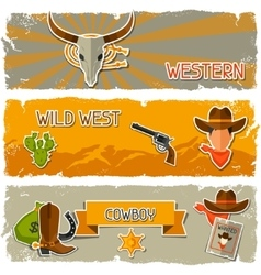 Wild west banners with cowboy objects and stickers vector