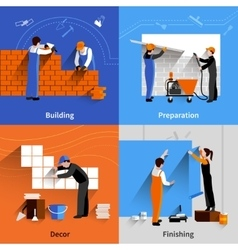 Worker flat set vector