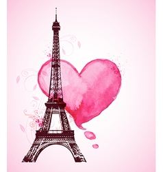 Red watercolor heart and eiffel tower vector
