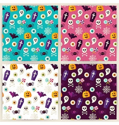 Flat halloween trick or treat objects seamless vector