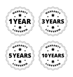 Black and white warranty stickers badges with vector