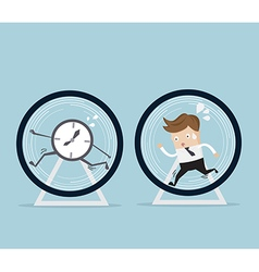 Businessman and time running in hamster wheel vector