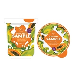 Papaya yogurt packaging design template vector