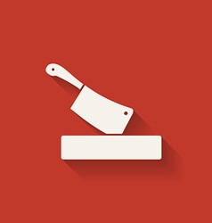 Butcher knife in chopping board vector