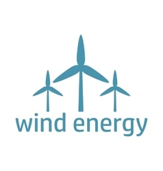 Green energy logo wind turbines vector