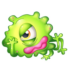 A bored green one-eyed monster vector image vector image