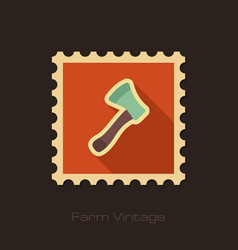 Axe ax hatchet retro flat stamp with long shadow vector