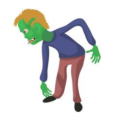Bent zombie icon cartoon style vector