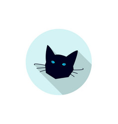 Black cat head icon vector